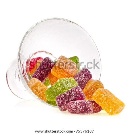 colorful fruit jelly candy on white - stock photo