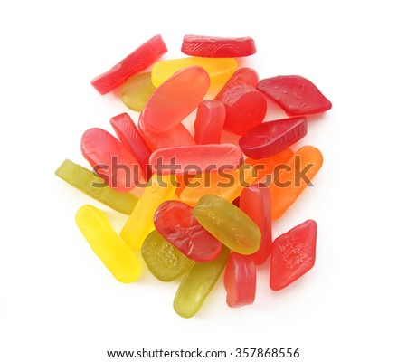 colorful fruit jelly candy on white background - stock photo