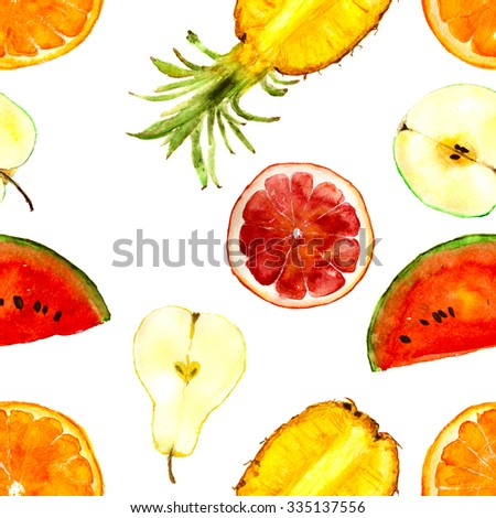 colorful fruits pattern: watermelon, pineapple, pear, apple, orange, grapefruit. Hand-drawn watercolor - stock photo