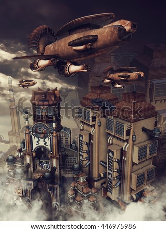 Colorful futuristic city and an old rusty zeppelin. 3D illustration. - stock photo