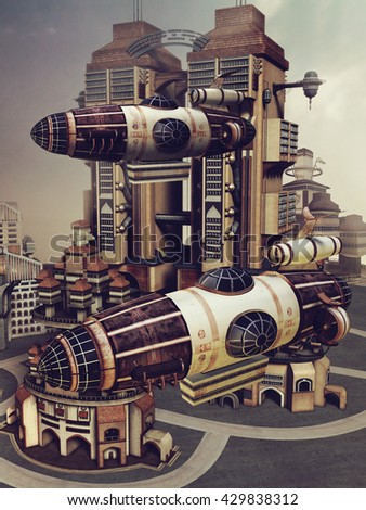 Colorful futuristic city with skyscrapers and flying machines. 3D illustration. - stock photo
