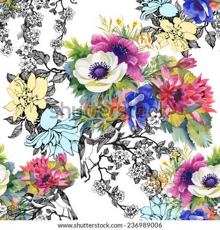 Colorful garden flowers Seamless pattern on white background - stock photo