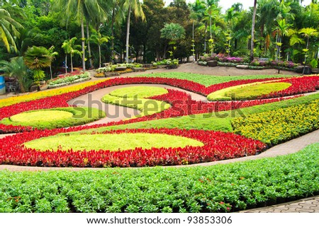 Colorful Garden Full With Flower - stock photo