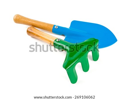 colorful gardening tools isolated on white - stock photo