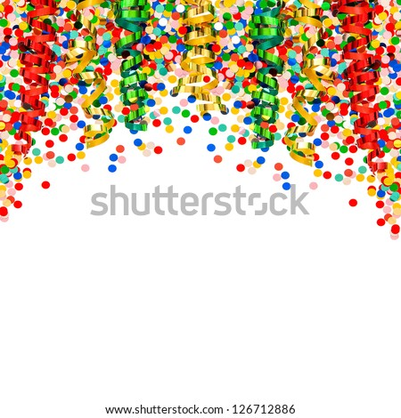 colorful garlands and confetti on white  background. carnival decoration - stock photo