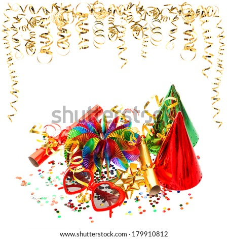colorful garlands, streamer and confetti on white background. birthday or carnival party decoration
