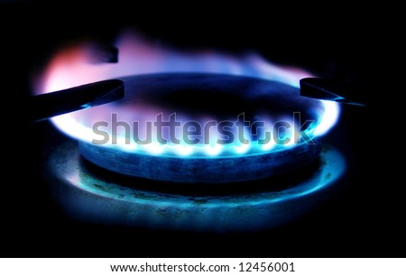 colorful gas stove flame - stock photo