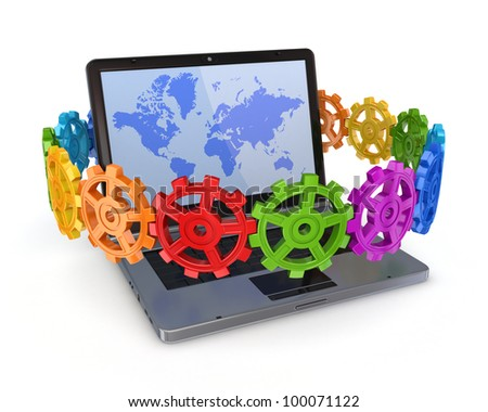 Colorful gears around modern notebook.Isolated on white background.3d rendered. - stock photo