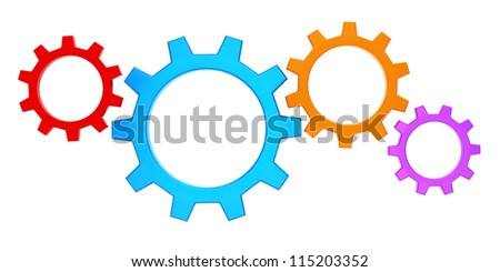 colorful gears render (isolated on white and clipping path) - stock photo