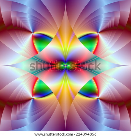 Colorful Gems / A digital abstract fractal image with a colorful geometric design in yellow, green, red, blue and pink. - stock photo