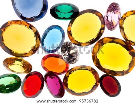 colorful gems isolated on white background - stock photo