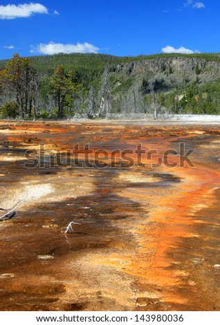 Colorful geology at a hot spring in Yellowstone National Park, Wyoming, USA. - stock photo