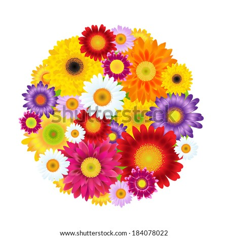 Colorful Gerbers Flowers Ball - stock photo