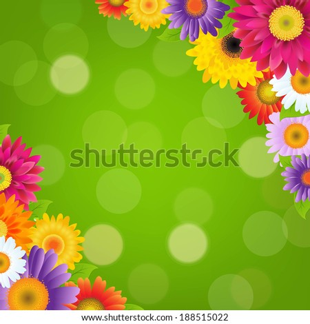 Colorful Gerbers Flowers Border With Green Bokeh - stock photo