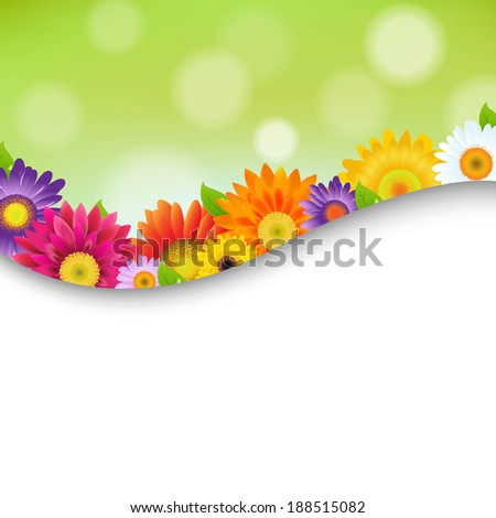 Colorful Gerbers Flowers Poster - stock photo