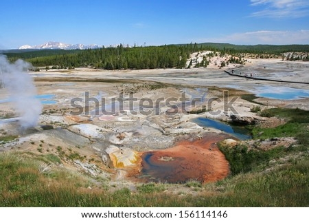 Colorful Geyser Basin in Yellowstone National Park, Wyoming - stock photo