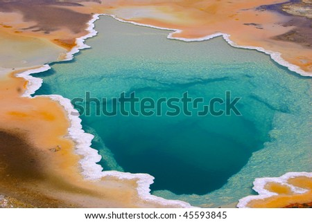 Colorful geyser in Yellowstone National park - stock photo