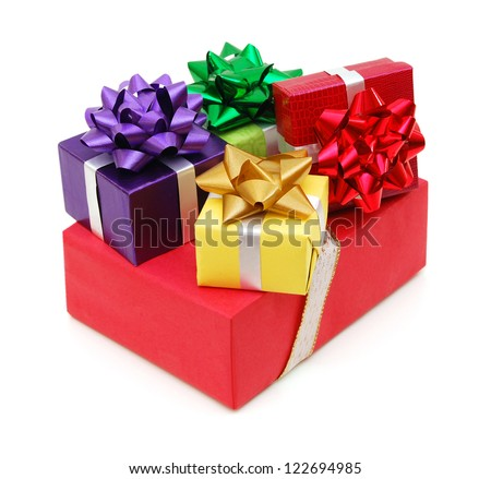 Colorful gift boxes on white background