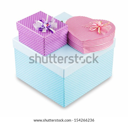 colorful gift boxes over white background - stock photo