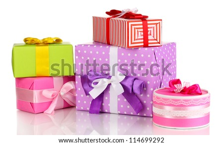 Colorful gifts isolated on white - stock photo