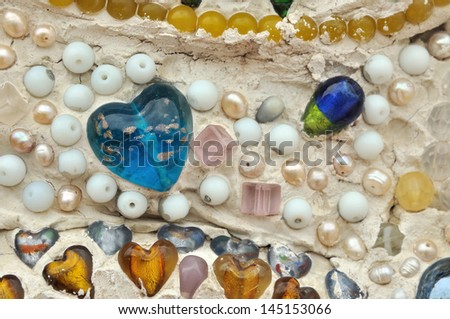 colorful glass and classical stone wall background - stock photo