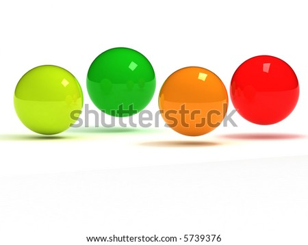 colorful glass balls in a row - stock photo