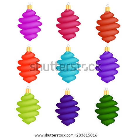Colorful Glass Christmas Icicles Decorations Collection Isolated on White Background - stock photo