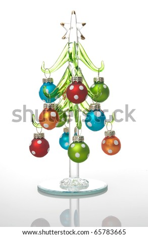 Colorful glass Christmas tree isolated on white background. - stock photo