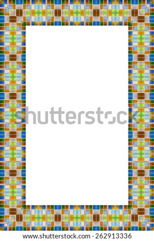 Colorful glass frame isolated on white background. - stock photo