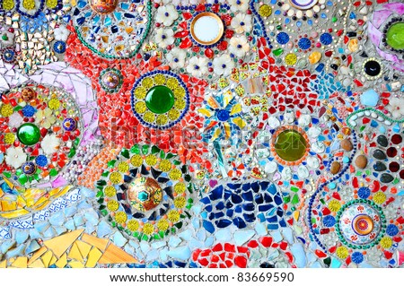 Colorful glass mosaic art and abstract wall background - stock photo