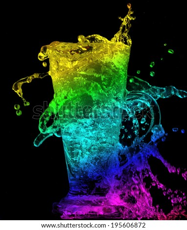 colorful glass overflow on black background. - stock photo