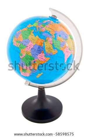 Colorful globe isolated against a white background