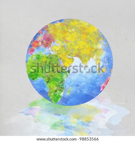 colorful globe painting on paper