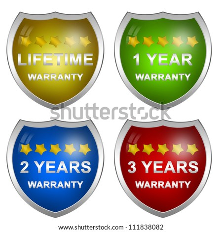 Colorful Glossy Style Customer Service Warranty Life Time, 1 Year, 2 Years and 3 Years Badge Isolated on White Background - stock photo