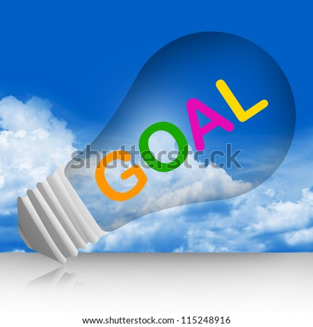 Colorful Goal Text Inside The Light Bulb For Business Concept in Blue Sky Background - stock photo