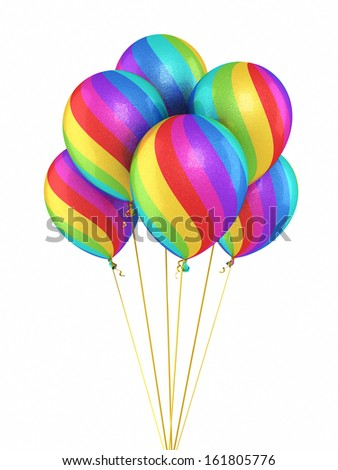 Colorful Gradient Balloons (isolated and clipping path) - stock photo