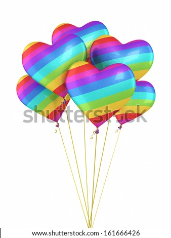 Colorful Gradient Heart Balloons (isolated and clipping path) - stock photo
