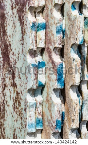 Colorful granite slabs for sale in store yard - closeup, background and texture - stock photo