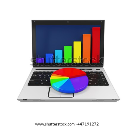 Colorful Graph Chart and Laptop. 3D rendering