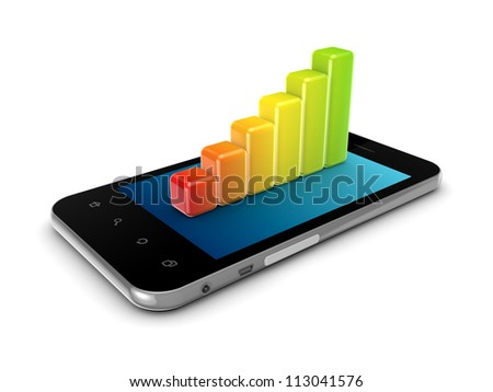 Colorful graph on a modern mobile phone.Isolated on white background.3d rendered. - stock photo