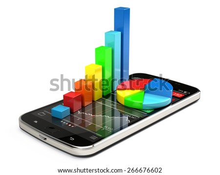Colorful graph on smartphone - Stock exchange market trading concept - stock photo