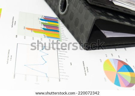 colorful graphs, charts, marketing research and business annual report background - stock photo