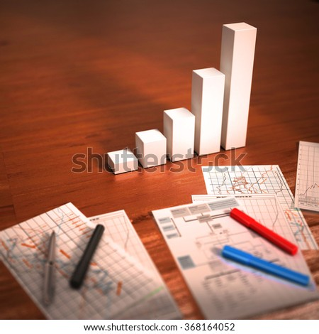 Colorful graphs, charts, marketing research and business annual report background on wooden table.  Financial  concept illustration - stock photo