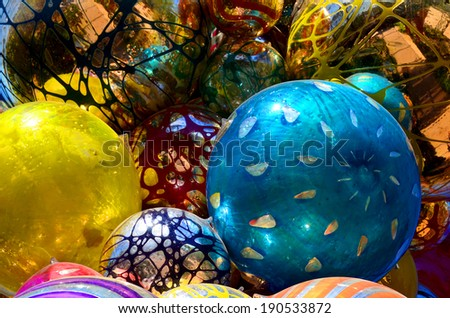 Colorful grass ball. - stock photo