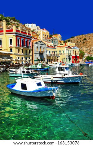 colorful Greece series Symi island, Dodecanes - stock photo