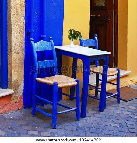 colorful Greece - traditional street taverna - stock photo