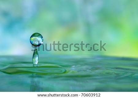 Colorful green and blue water drop and splash - stock photo