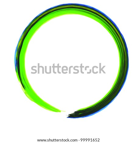 Colorful Green Circle Line with blue edge Abstract Paint illustration