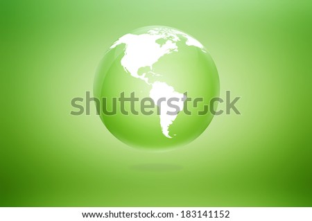 Colorful green glossy globe icon - stock photo