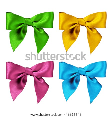 Colorful group of bows, isolated in white background - stock photo